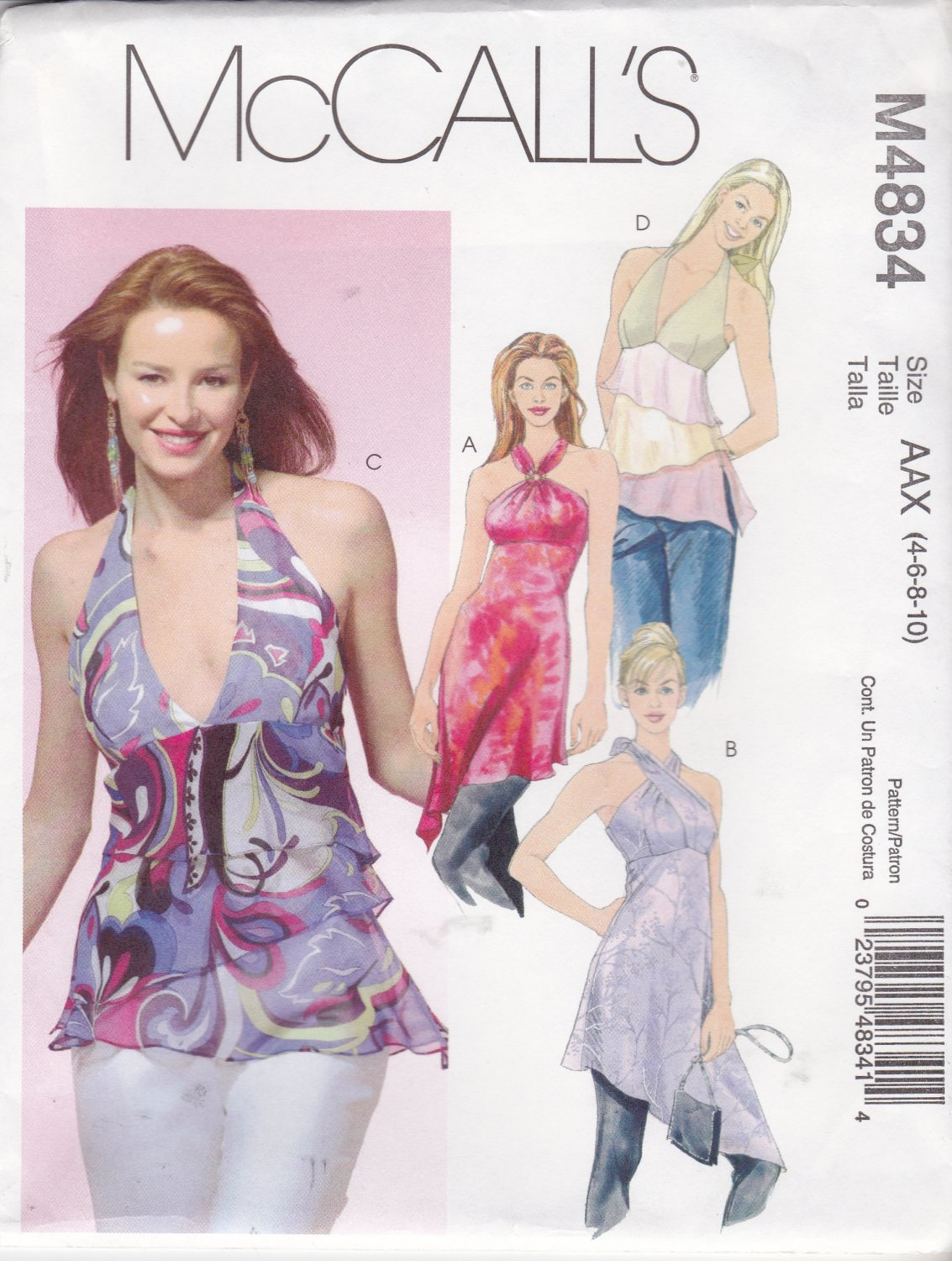McCall's Sewing Pattern 4834 Misses Size 4-10 Halter Raised Waist Tops Tunics