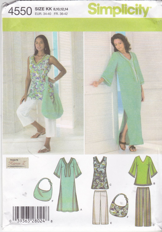 Simplicity Sewing Pattern 4550 Misses Size 8-14 Wardrobe Pants Dress Tunic Purse Capris Caftan