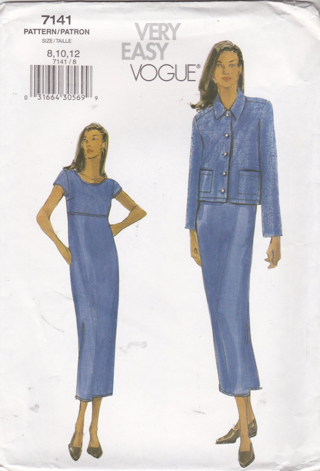 Vogue Sewing Pattern 7141 Misses Size 8-12 Easy Straight Dress Button Front Jacket