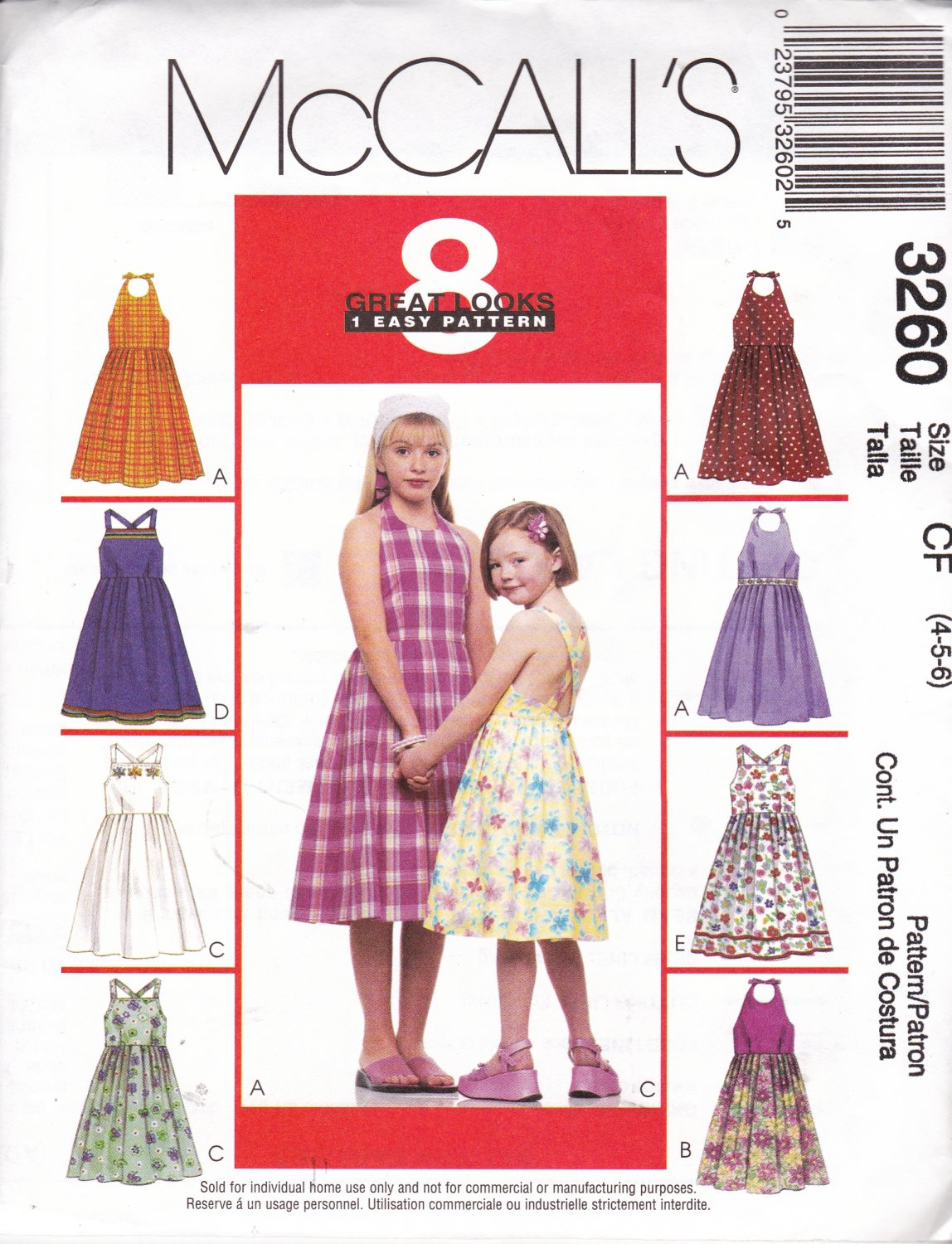 McCall's Sewing Pattern 3260 Girls Size 4-5-6 Easy Halter ...