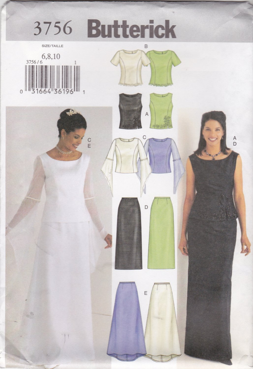 Butterick Sewing Pattern 3756 Misses Size 6-10 Easy Wedding Gown Formal 2-Piece Dress Top Skirt