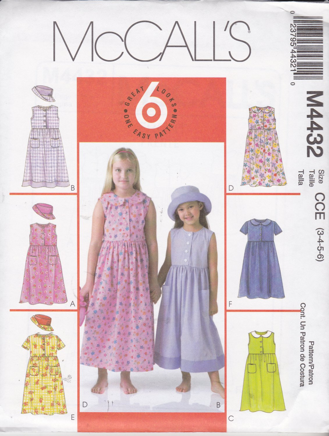 McCall's Sewing Pattern 4432 Girls Size 3-6 Easy Sleeveless Short Sleeve Gathered Skirt Dress Hat