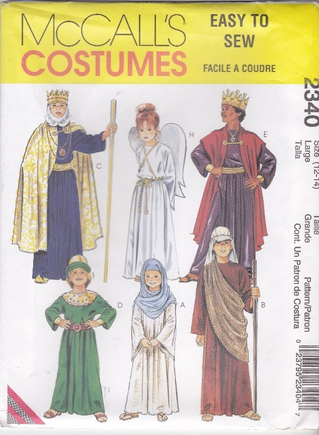 McCall�s Sewing Pattern 2340 Boys Girls Size 12-14 Nativity Angel King Mary Wise Men Costumes