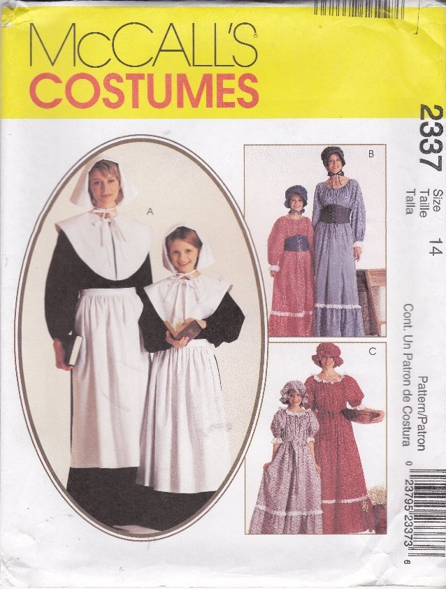McCall�s Sewing Pattern 2337 7230 Girls Size 10-12 Pilgrim Pioneer Prairie Costumes Dress Bonnet