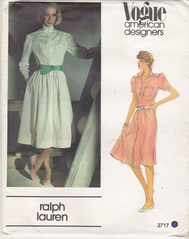 Vogue Sewing Pattern 2717 Misses Size 10 Ralph Lauren American Designer Button Front Dress