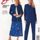 McCall's Sewing Pattern 4134 Misses  Size 12-18 Easy Button Front Jacket Long Pants Pull On Skirt