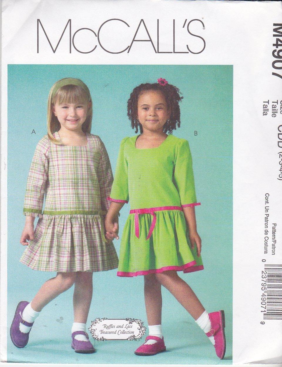 McCall's Sewing Pattern 4907 Girls Size 2-5 Dropped Gathered Waist Longer Sleeve Dress