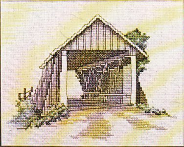 Hayden's Crossing Wooden Covered Bridge Counted Cross Stitch Pattern Alma Lynn Design