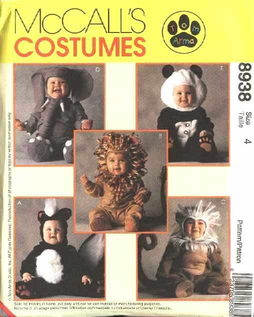 McCall's Sewing Pattern 8938 Girls Boys Toddlers Size 1 Skunk Lion Monkey Elephant Panda Costume