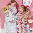 """Kwik Sew Sewing Pattern 0157 K0157 Girls Sizes 3-10 18"""" Doll Loungewear Pajamas Nightgown"""