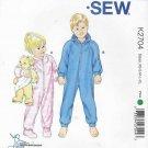Kwik Sew Sewing Pattern 2704 Boys Girls Sizes 4-14 Zipper Front Sleepr Jumpuit Optional Hood Feet