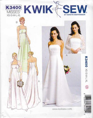 Kwik Sew Sewing Pattern 3400 Misses Sizes 8-22 Fitted Bodice Train Bolero Wedding Dress
