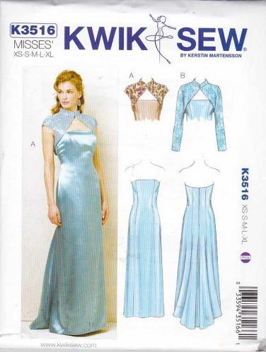 Kwik Sew Sewing Pattern 3516 Misses Sizes 8-22 Strapless Straight Cut-on Train Gown Bolero