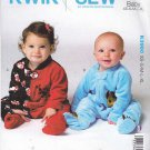Kwik Sew Sewing Pattern 3960 K3960 Babies Sizes XS - XL Knit Fleece Zipper Front Blanket Sleeper