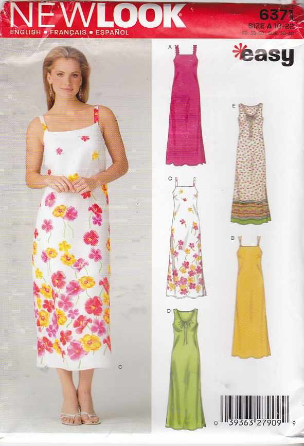 New Look Sewing Pattern 6371 Size 10-22 Summer Sun Sheath Dresses