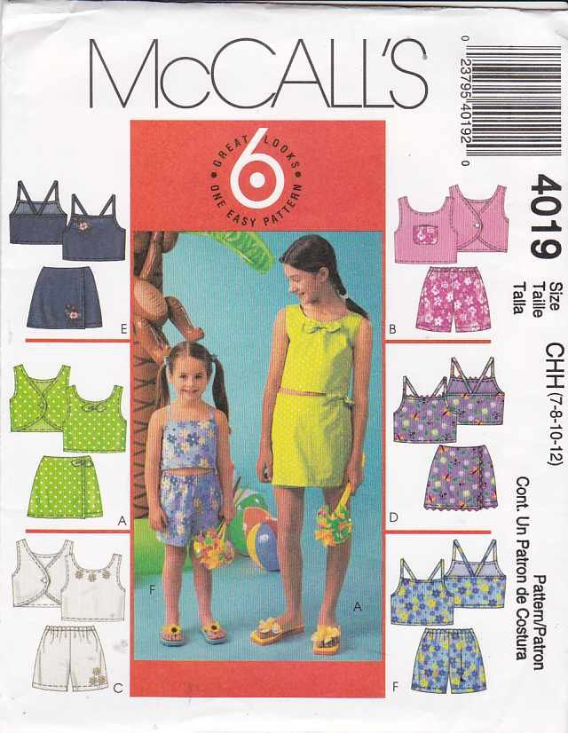 McCall's Sewing Pattern 4019 M4019 Girls Size 7-12 Easy Summer Play Clothes Tops Short Skorts