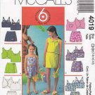 McCall's Sewing Pattern 4019 Girls Size 7-12 Easy Summer Wardrobe Play Clothes Tops Short Skorts