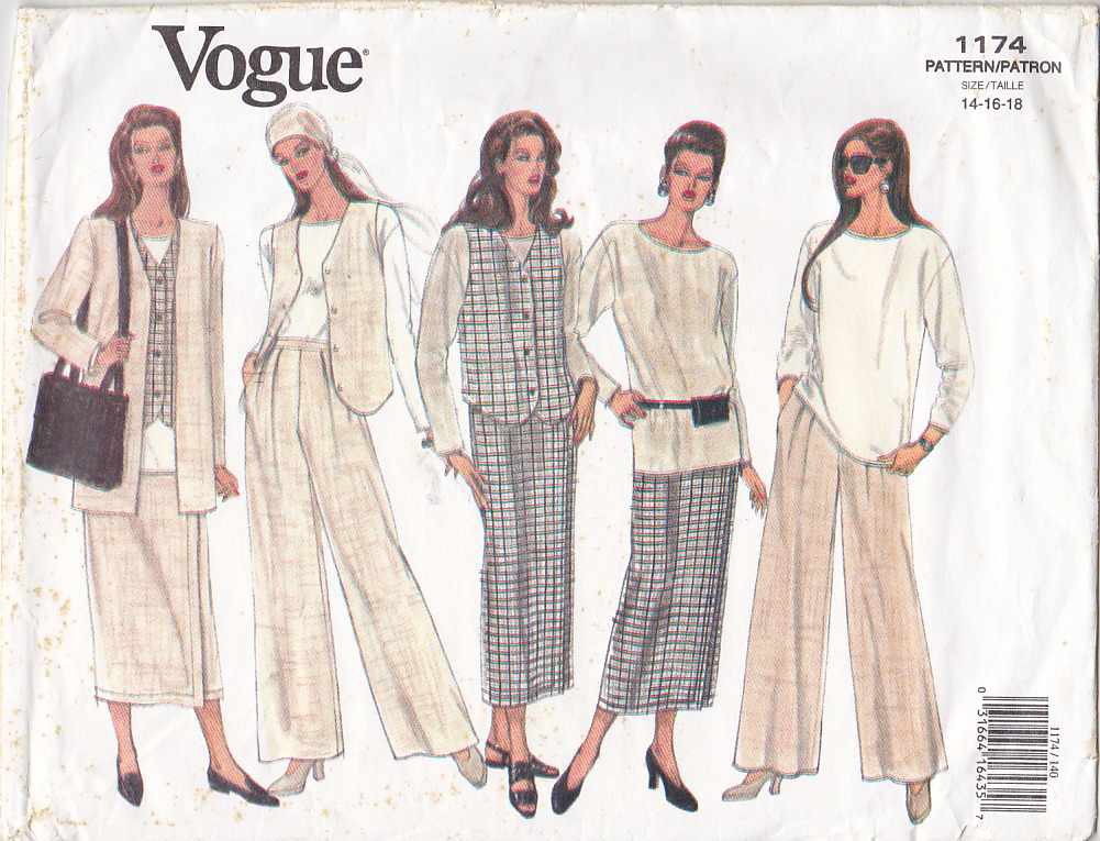 Vogue Sewing Pattern 1174 Misses Size 14-18 Easy Wardrobe Jacket Vest Tunic Skirt Pants