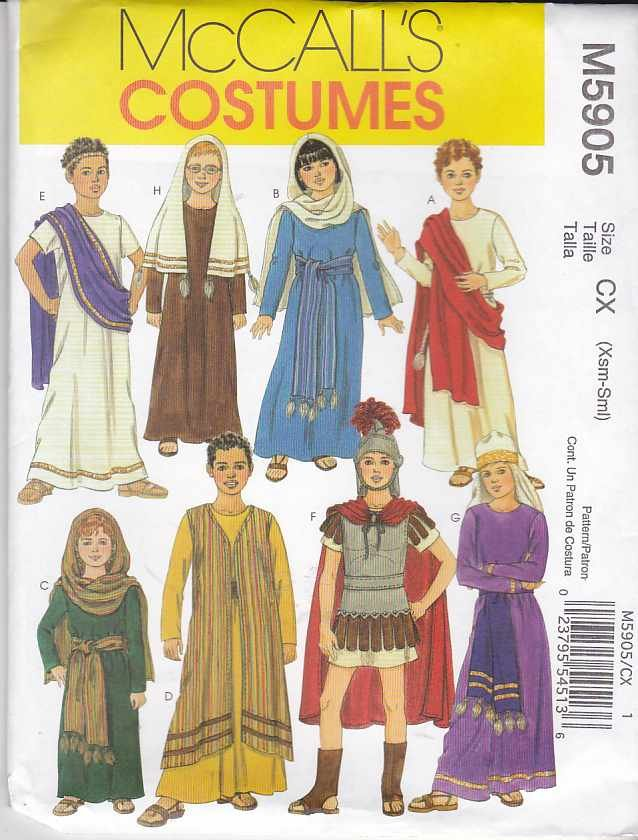 McCall�s Sewing Pattern 5905 M5905 Girls Boys Size 3-6 Biblical Costumes Christmas Easter Passion