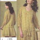 Vogue Sewing Pattern 1177 Misses Size 8-14 Anna Sui Longer Sleeve Dress Slip Tucks Pleats