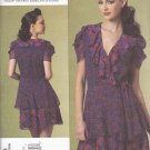 Vogue Sewing Pattern 1178 Misses Size 6-12 Anna Sui Fitted Lined Front Wrap Dress Ruffles
