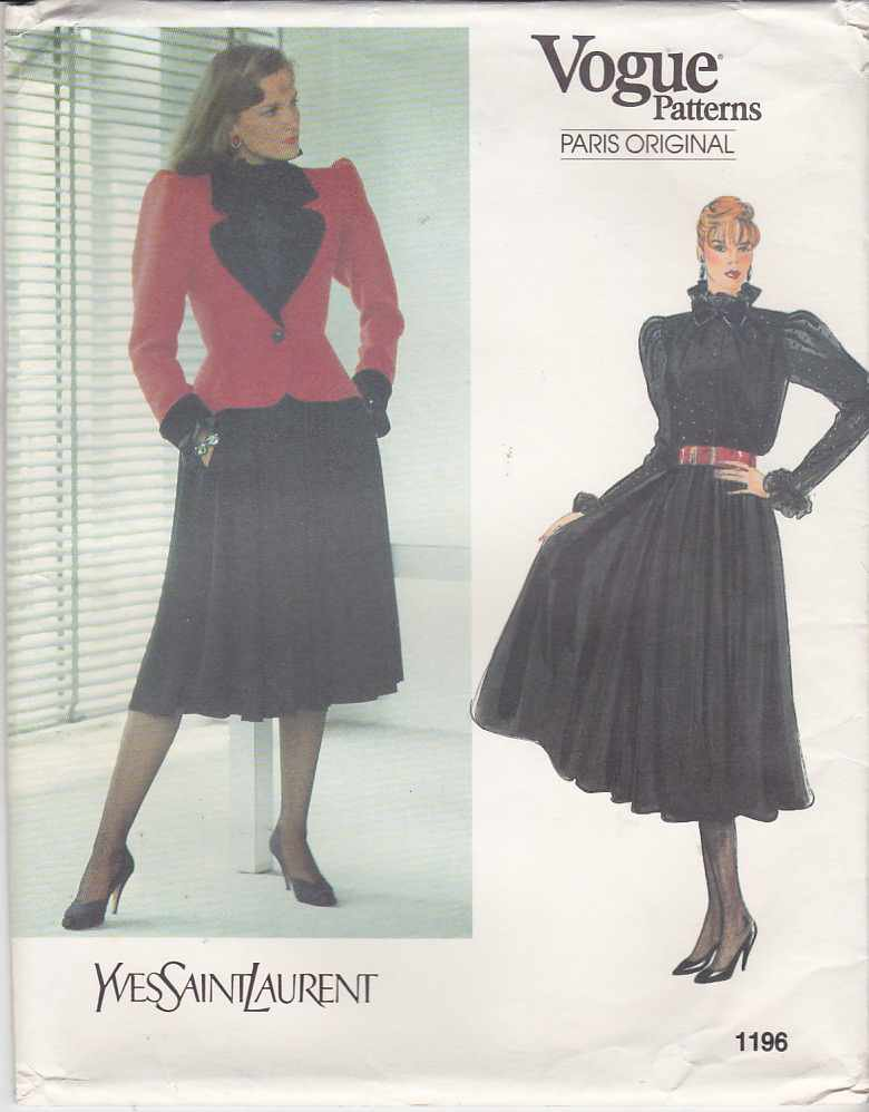 Vogue Sewing Pattern 1196 Misses Size 10 Yves Saint Laurent Paris Original jacket Skirt Blouse