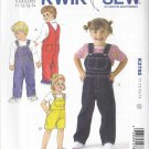 Kwik Sew Sewing Pattern 2785 Boys Girls Toddlers Sizes 1-4 Classic Denim Bib Overalls Long Short