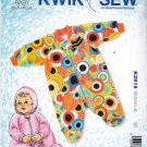 Kwik Sew Sewing Pattern 2919 Baby Infant Sizes Newborn - 18 Months Footed Zip Up Sleeper