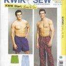 "Kwik Sew Sewing Pattern 3793 Men's Sizes S-XXL (Waist 28""- 46"") Sleep Pajama Pygama Pants Shorts"
