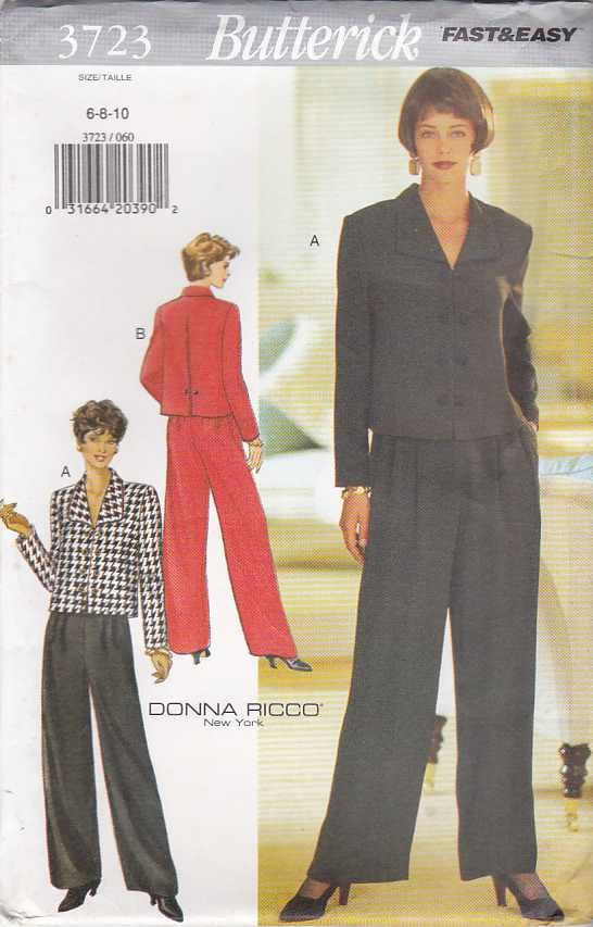 Butterick Sewing Pattern 3723 B3723 Misses Size 6-10 Easy Donna Ricco Jacket Pants Suit