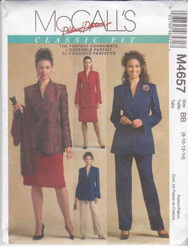 McCall's Sewing Pattern 4657 Misses Size 16-22 Palmer/Pletsch Classic Fit Jacket Pants Skirt Suit