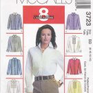 McCall's Sewing Pattern 3723 Misses Size 8-14 Easy Button Front Long Sleeve Ruffles Shirt Blouse