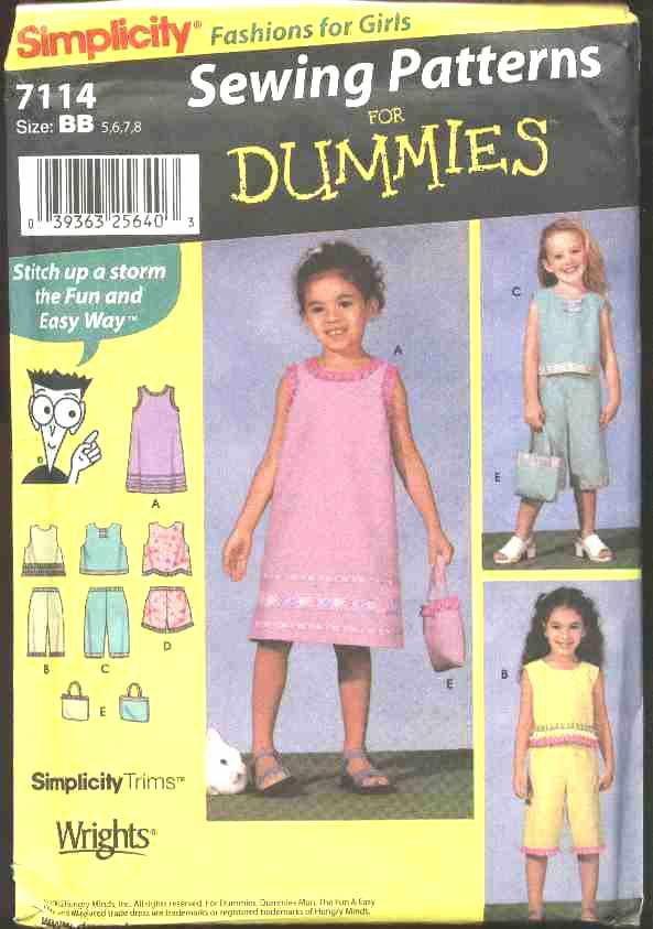 Simplicity Sewing Pattern 7114 Girls Size 5-8 Easy Pullover Dress Top Cropped Pants Shorts Purse