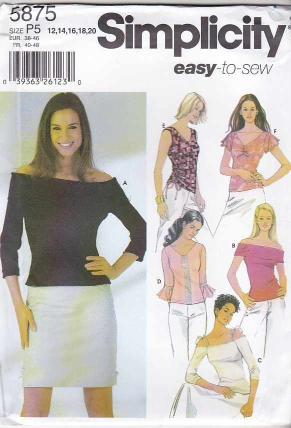 Simplicity Sewing Pattern 5875 Misses Size 12-20 Easy Knit Pullover Tops
