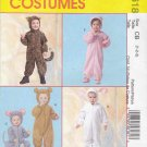 McCall's Sewing Pattern 4618 Boys Girls Size 1-2-3 Jumpsuit Costumes Tiger Bear Kitty Bunny Mouse