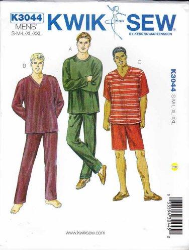 """Kwik Sew Sewing Pattern 3044 Men's Sizes S-XXL (Waist 28""""- 46"""") Knit Pajama Pygama Pants Shorts Tops"""