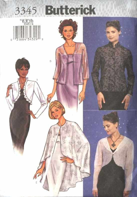 Butterick Sewing Pattern 3345 Misses Size 6-8-10 Easy Formal Evening Jacket Cape Shrug Bolero