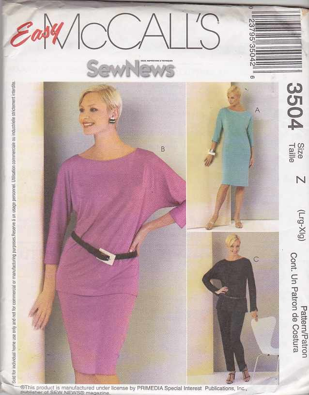 McCall's Sewing Pattern 3504 Misses Size 16-22 Easy Sew News Wardrobe  Knit Dress Top Skirt Pants