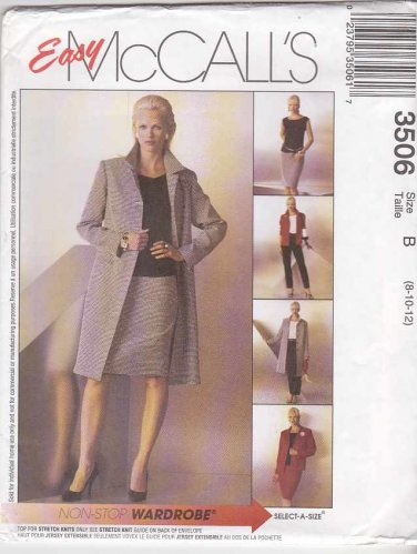 McCall's Sewing Pattern 3506 M3506 Misses Size 12-16 Easy Wardrobe Coat Jacket Top Pants Skirt