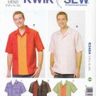 "Kwik Sew Sewing Pattern 3484 Men's Sizes S-XXL (Chest 34""- 52"") Button Front Short Sleeve Shirt"
