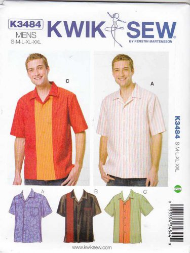 "Kwik Sew Sewing Pattern 3484 K3484 Men's Sizes S-XXL Chest 34""- 52"" Button Front Short Sleeve Shirt"