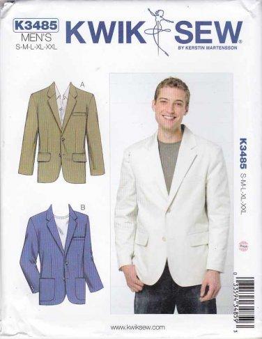 """Kwik Sew Sewing Pattern 3485 Men's Sizes S-XXL (Chest 34""""- 52"""") Button Front Jacket Blazer"""