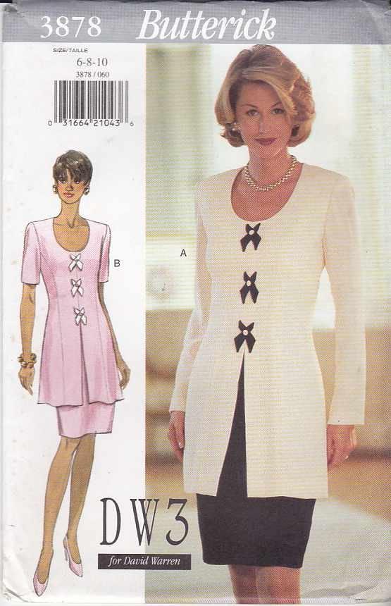 Butterick Sewing Pattern 3878 Misses Size 18-20-22 Easy David Warren Long Short Sleeve Dress