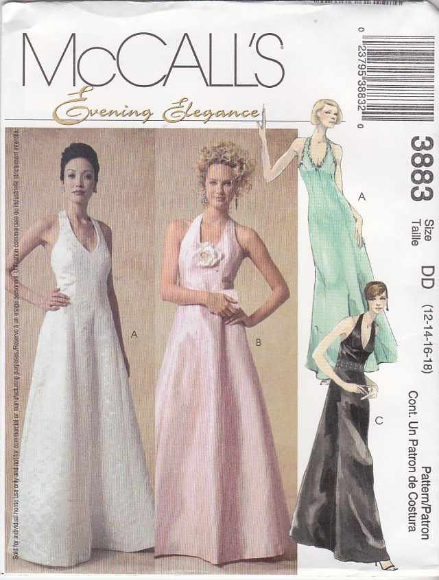 McCall's Sewing Pattern 3883 Misses Size 16-22 Evening Formal Prom Wedding Halter Dresses