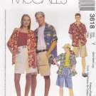 "McCalls Sewing Pattern 3618 Misses Mens Unisex Chest Size 46-52"" Button Front Shirts Shorts Hats"