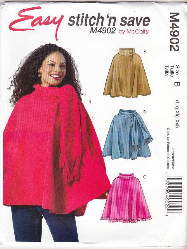 McCall's Sewing Pattern 4902 Misses Size 8-14 Easy Fleece Turtleneck Attached Scarf Ponchos