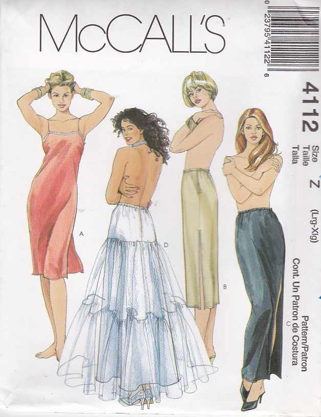 McCall's Sewing Pattern 4112 Misses Size 16-22 Full Half Long Short Slips Petticoat Lingerie