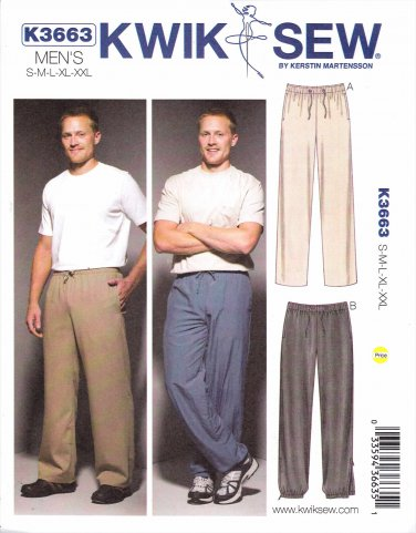 "Kwik Sew Sewing Pattern 3663 Men's Sizes S-XXL (Chest  34""- 52"") Casual Drawstring Pants Sweatpants"