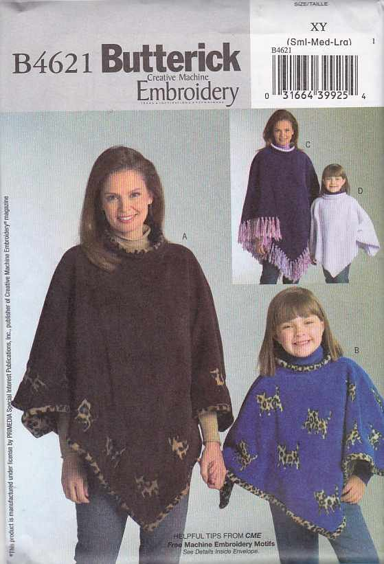 Butterick Sewing Pattern 4621 Misses  Size 8-10-12-14-16-18  Easy Machine Embroidery  Ponchos