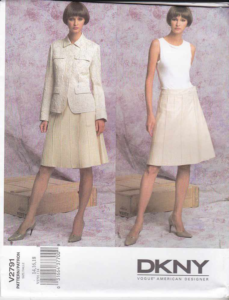 Vogue Sewing Pattern 2791 Misses Size 8-10-12 DKNY Jacket Wrap Skirt